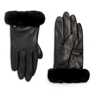 Ugg Shorty Shearling-Cuff Leather Gloves in Black